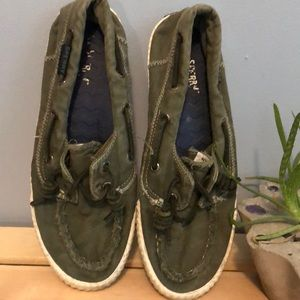 Woman's Olive Green Sperry Loafers